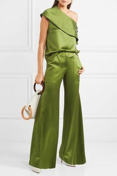 Green silk-satin Button and tie-fastening at shoulder  100% silk Dry clean Designer color: Avocado