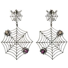 Earrings | Rebecca Koven. 'Spider Web'. 18k white gold spider webs with diamond raindrops and sapphire spiders