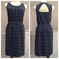 LOFT Striped Sundress with Back Cutout This adorable striped sundress from Loft has such cool details like a back cutout and pockets! It's a soft double knit fabric lined with smaller stripes. Elastic waist in an above the knee length. In excellent condition with no holes, stains or tears. Worn once or twice. Please ask questions before purchase as all sales are final. LOFT Dresses Mini