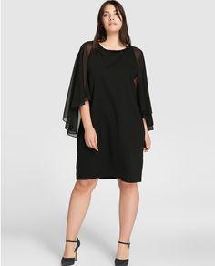 Vestido de mujer talla grande Couchel en color negro con pedrería en cuello
