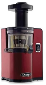 $429.99 - Omega® VSJ843Q Low Speed Juicer in Red - Operating at a speed of 43 RPM the Omega VSJ843Q Low Speed Juicer maintains more nutrients and enzymes while its powerful motor and reduction gears employ twice the crushing force of most juicers to maximize yield. It is also compact and easy to clean.