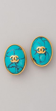 WGACA Vintage Vintage Chanel CC Turquoise Earrings | SHOPBOP