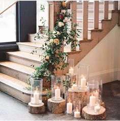 A romantic, rustic stairwell decoration from a South Carolina wedding. But maybe as a rustic Christmas decoration? Wedding Table, Wedding Reception, Our Wedding, Wedding Country, Wedding Rustic, Trendy Wedding, Natural Wedding Decor, Wedding Bells, Wedding Ideas For Tables