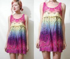 Lace Dress OMBRE RAINBOW Scallop Hem MINI Babydoll by cruxandcrow, $119.00