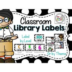 Classroom Library Labels {Black and White Polka Dot}