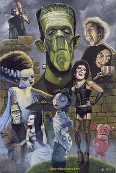 Bride of Frankenstein, Frankenstein, Dr. Frankensteen, Eyegore, Fred & Lilly Munster, Tim Burton characters, Dr Frankenfurter