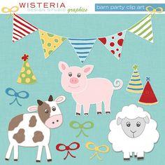 Barn Party Clip Art  for Personal & by WisteriaDesignStudio, $5.00