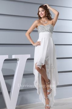 High Low Sweetheart Jeweled Bodice Dress With Cinched Waistband and Zipper Back