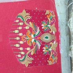 Hand Work Blouse Design, Simple Blouse Designs, Sari Blouse Designs, Bridal Blouse Designs, Hand Designs, Flower Designs, Bead Embroidery Patterns, Thread Work, Sleeve Designs