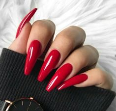 """If you're unfamiliar with nail trends and you hear the words """"coffin nails,"""" what comes to mind? It's not nails with coffins drawn on them. Although, that would be a cute look for Halloween. It's long nails with a square tip, and the look has. Red Acrylic Nails, Acrylic Nail Designs, Red Stiletto Nails, Gorgeous Nails, Pretty Nails, Perfect Nails, Red Manicure, Diy Red Nails, Luxury Nails"""