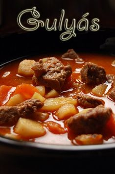 Hungarian Goulash -- had this several times a month. Goulash Recipes, Crockpot Recipes, Soup Recipes, My Recipes, Cooking Recipes, Favorite Recipes, Hungarian Cuisine, Hungarian Recipes, Hungarian Food
