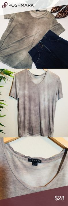 Theory heather gray scoop neck T-shirt Heather gray scoop neck shirt sleeve tee from Theory. In like new condition super soft made in the USA. 65% cotton 35% polyester Theory Tops Tees - Short Sleeve
