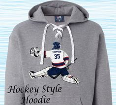 Custom Hockey Style Hoodie!  Personalize our designs with your childs name and number, and customize with his/her uniform colors!