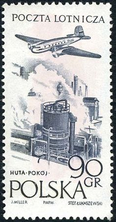 Sello: Steelworks in Huta (Polonia) (Flight around Europe Air Race - Victory) Mi:PL 890 Art Deco Posters, Art Deco Period, Postage Stamps, Stamp Book, Movie Posters, Club, Craft, Seals, Poland