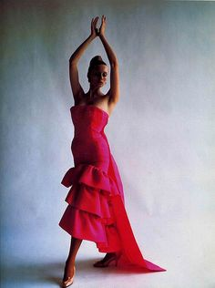 Balenciaga, 1961 vintage designer fashion color photo print ad model magazine 60s red pink evening gown dress ruffle hem train strapless formal cocktail