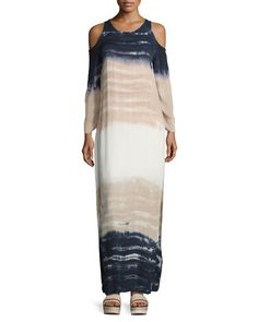 6ff28fe7d84a TRYZS Young Fabulous and Broke Mischa Tie-Dye Ombré Cold-Shoulder Maxi  Dress Young