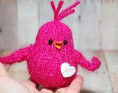 Birds - Chicks - Knit Bird Toy - Christmas Holiday Ornament - Waldorf - Plush - Natural Fibers - Pastel. $14.00, via Etsy.