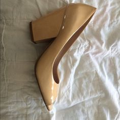 High heel nude colored Only wore once to a wedding. Mint condition. No scratches or scuffs.. Size 7B Shoes Heels
