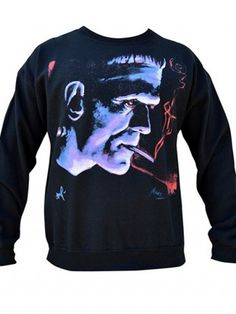 "Men's ""Frankie"" Crewneck Sweatshirt by Black Market Art (Black)"