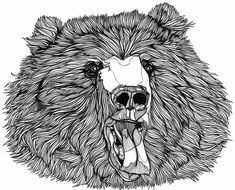 'BearCut' by Luke Dixon. beginnings of bad bear day t-shirt design