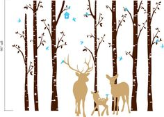 Birch Decal with Deer family set of 7 birch trees Owl by OwlHills