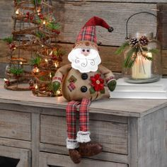 Welcome the season this December in rustic style with our Burlap Plaid Santa Shelf Sitter. Fun accents make this a wonderful Christmas counter-space addition. Elf Christmas Decorations, Easy Christmas Ornaments, Rustic Christmas, Christmas Art, Christmas Projects, Simple Christmas, All Things Christmas, Handmade Christmas, Christmas Wreaths