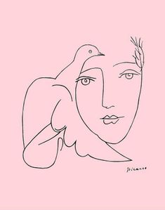 picasso, the dove and the girl, pink and line work illustration