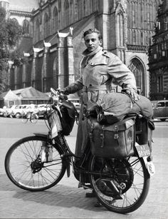 Mr. Willink and his loaded up motorcycle in The Netherlands.   Time Travel: The Way We Used to Go | 1951 | FATHOM