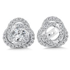 Add radiance and brilliance to solitaire earrings with classic design earring jackets. All styles available in 14k and 18k white gold and platinum. Solitaire earrings sold separately.
