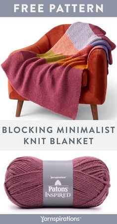 Free Blocking Minimalist Knit Blanket pattern using Patons Inspired yarn. This cozy knit blanket is a beginner's delight! Worked entirely in garter stitch, a simple twist is all it takes to lock the yarns together to create a seamless look that's fresh and modern. This blanket is sure to become an awe-inspiring addition to your home. It's a great pattern for boosting your intarsia confidence too! #Yarnspirations #FreeKnitPattern #KnitAfghan #KnitThrow #KnitBlanket #PatonsYarn #PatonsInspired Knitting Patterns Free, Knit Patterns, Free Knitting, Free Pattern, Blanket Patterns, Knitted Afghans, Knitted Blankets, Crochet Hooks, Knit Crochet