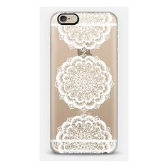 iPhone 6 Plus/6/5/5s/5c Case - Three White Floral Lace Medallions on... (52 CAD) ❤ liked on Polyvore featuring accessories and tech accessories
