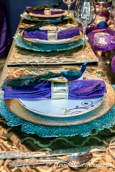 Peacock Tablescape   www.fromh2h.com