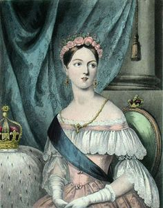 Color print of Queen Victoria wearing an evening dress