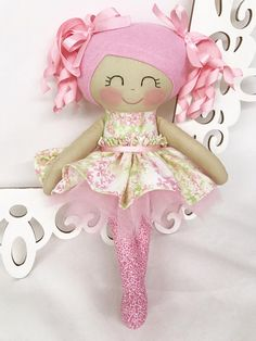Fabric Doll Handmade Doll  Pink Hair Doll