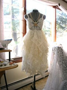 I just love this dress -- it may be one of my best, and it just came together so well. Its a gorgeous creamy ivory vintage slip with whats known as