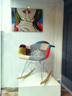 Eames RAR chair with Pop-Art fabrics Art Pop, Rocking Chair, Eames, Bassinet, Fabrics, Bed, Furniture, Home Decor, Chair Swing