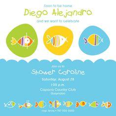 Baby Boy Shower Invitation Fish Via Etsy