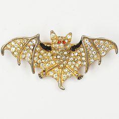 Coro Gold Pave and Enamel Perfumed Flying Bat Pin