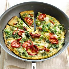 Kale-Goat Cheese Frittata The classic brunch frittata gets a healthy spin with egg whites and vitamin-rich kale. Goat cheese adds creaminess.