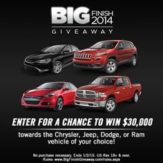 WATCH AND ENTER FOR YOUR CHANCE TO WIN DURING THE CHRYSLER BIG FINISH GIVEAWAY! use link:  http://www.BigFinishGiveaway.com/?ref=3266654