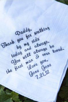 Cute wedding idea : napkin ornaments: dads first love