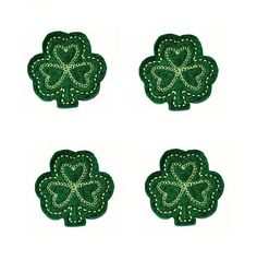 Lucky Shamrock applique embellishments Hair Bow by EmbroiderThat, $3.85