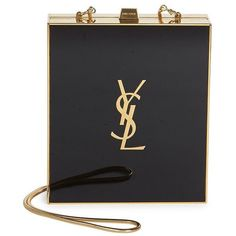 Saint Laurent Saint Laurent Tuxedo Rectangle Minaudiere (10.795 RON) ❤ liked on Polyvore featuring bags, handbags, clutches, snake purse, snake handbags, chain handle handbags, clasp purse and yves saint laurent