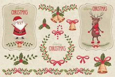 Cute Christmas illustrations pack by Sundra on Creative Market