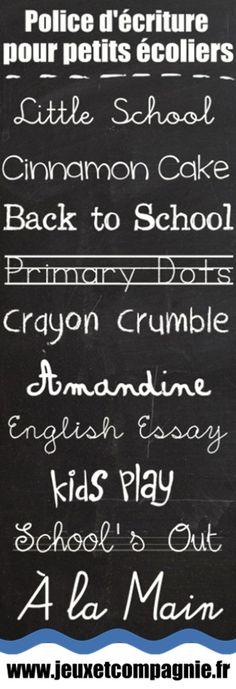 Des polices d'écriture dédiées aux petits écoliers...
