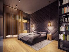 A Creative, Rustic Home with Retro Geometric Features A rustic home does not have to mean a secluded cabin in the woods. The home featured in this post, from visualizer Plasterlina includes rustic elements like lot zuhause Modern Master Bedroom, Modern Bedroom Decor, Farmhouse Master Bedroom, Bedroom Ideas, Bedroom Designs, Cozy Bedroom, Bedroom Furniture, Rustic Bedrooms, Bedroom Bed