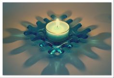 Candle holder - turquoise