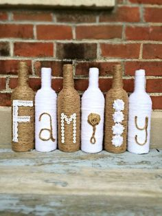 Family Twine Wrapped Wine Bottle Decor by BienzCraftBoutique… Wrapped Wine Bottles, Old Wine Bottles, Wine Bottle Corks, Glass Bottle Crafts, Diy Bottle, Decorative Wine Bottles, Patron Bottle Crafts, Vodka Bottle, Recycle Bottles