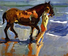 Sorolla y Bastida, Joaquin (1863-1923) - 1909c. The Horse Bath - Study (Private Collection)    Oil on canvas; 46 x 58 cm.