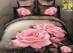 Modna brązowa pościel do pokoju w różowe róże